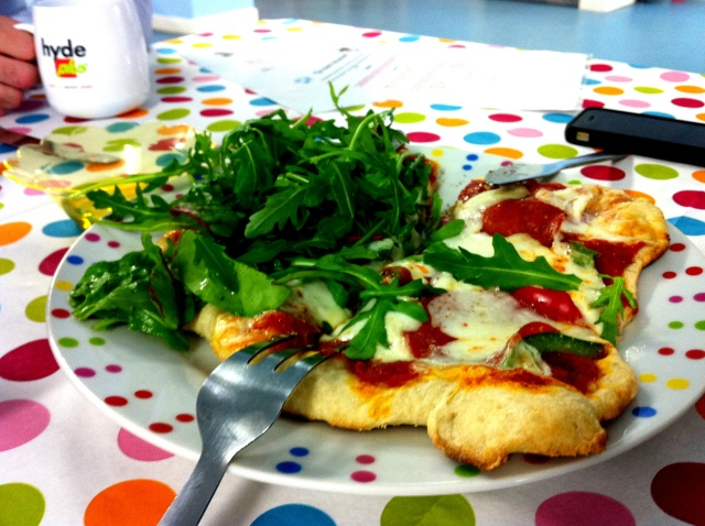 home-made pizza with rocket